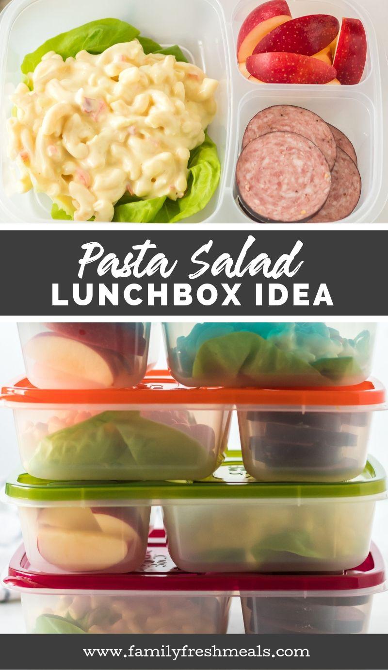 Pasta Salad Lunchbox Idea #lunchbox #lunchboxidea #easylunchboxes #familyfreshmeals #worklunch #schoollunch #healthylunch #lunch via @familyfresh