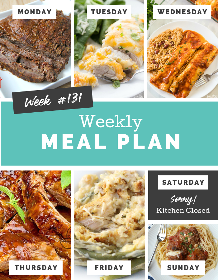 Easy Weekly Meal Plan Week 131