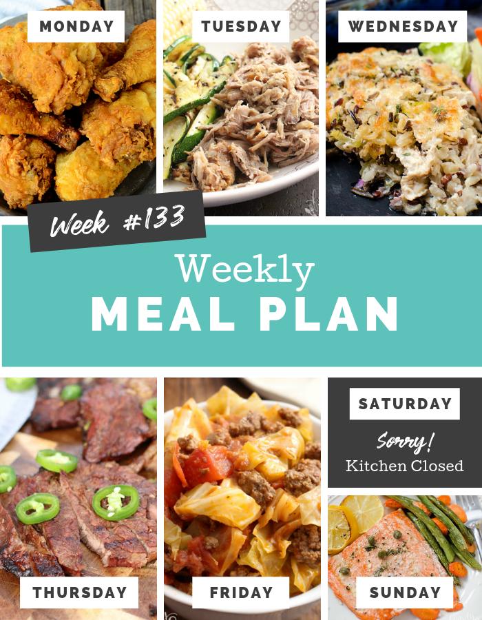 Easy Weekly Meal Plan Week 133