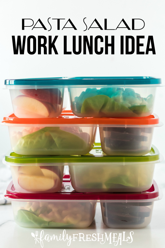 Pasta Salad Packed for lunch - Easy Lunchboxes Idea from Family Fresh Meals