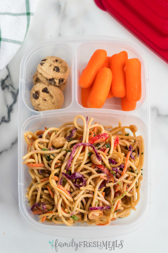 Thai Spaghetti Pasta Salad Packed for lunch with Easy Lunchboxes containers.