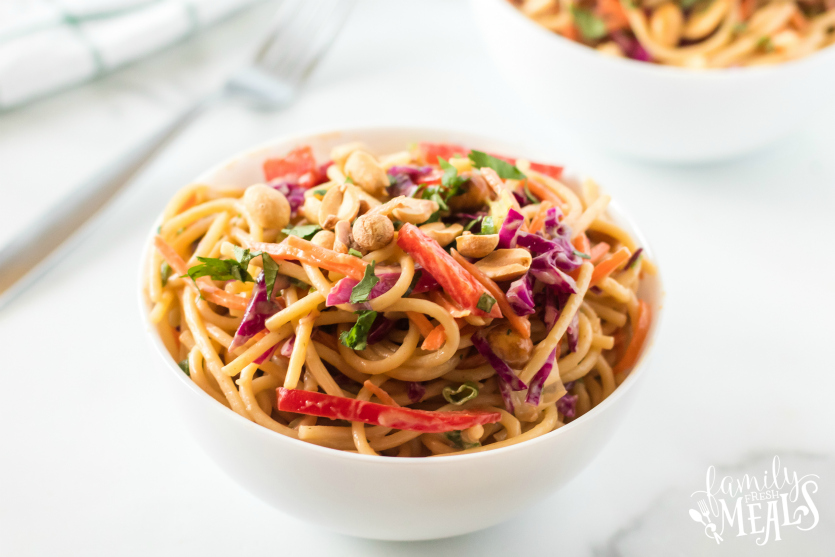 Thai Spaghetti Pasta Salad served in a white bowl.