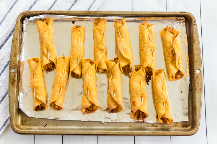 Easy Chicken Taquitos - cooked on baking sheet