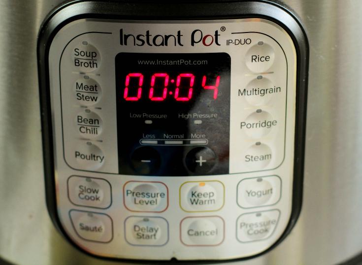 Instant Pot Bang Bang Shrimp Pasta - Instant pot set to 4 mins