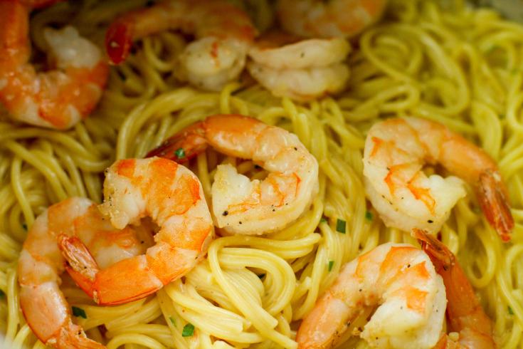 Instant Pot Bang Bang Shrimp Pasta - Mix in cooked shrimp