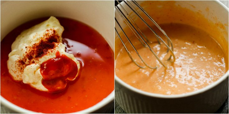 Instant Pot Bang Bang Shrimp Pasta - mixing bang bang sauce