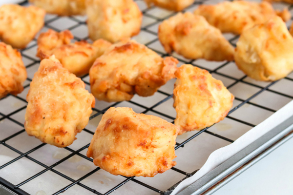 Copycat Chick Fil A Nuggets - Chicken nuggets cooling on rack