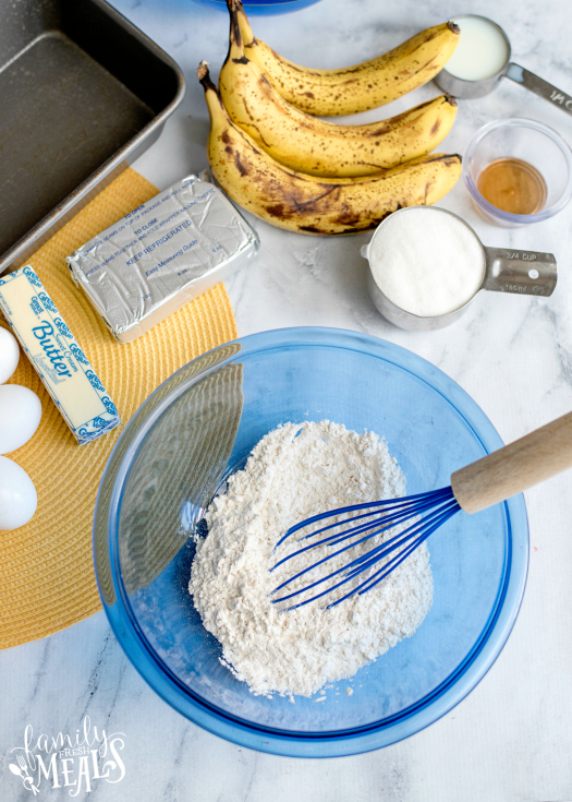 Cream Cheese Banana Bread - Dry ingredients mixed in bowl