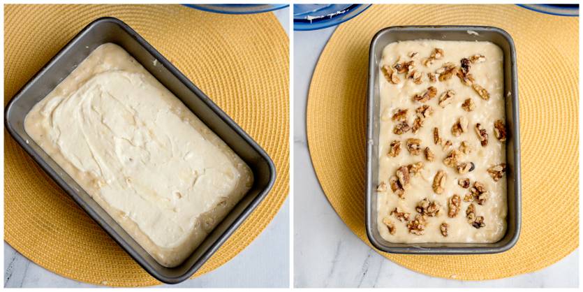 Cream Cheese Banana Bread - bread batter topped with nuts