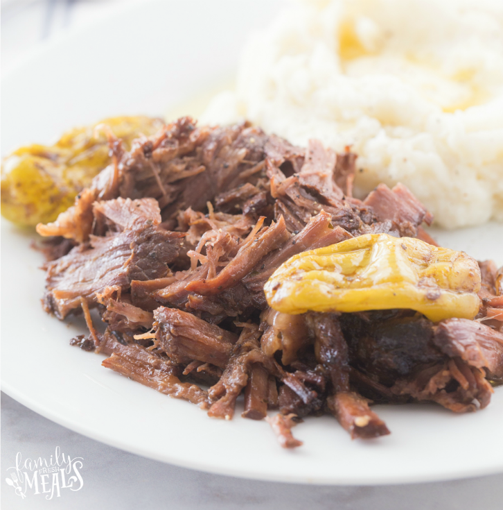 Crockpot Mississippi Pot Roast Recipe - on a white plate Family Fresh Meals