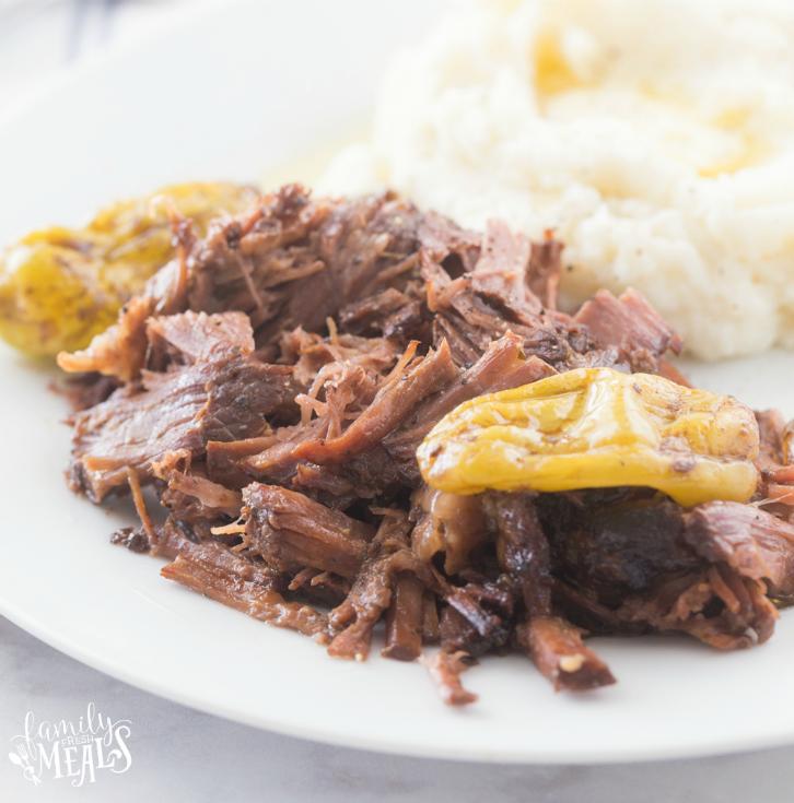 Crockpot Mississippi Pot Roast Recipe - on a white plate Family Fresh Meals