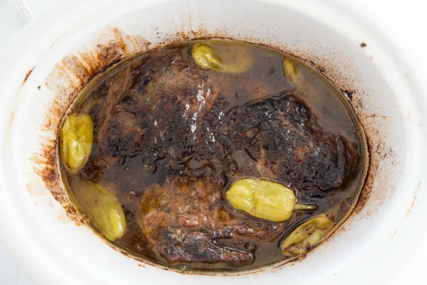 Crockpot Mississippi Pot Roast - cooked pot roast in slow cooker