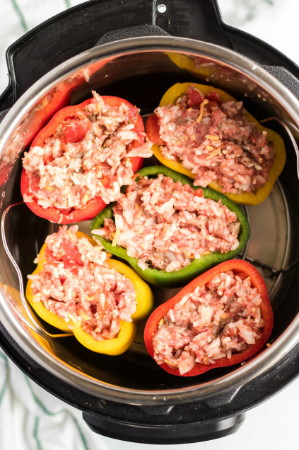 Instant Pot Stuffed Peppers - Stuffed pepper placed in instant pot