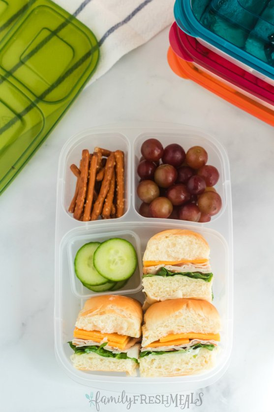 Mini Sliders Lunchbox Idea - Packed in Easy Lunchbox Containers