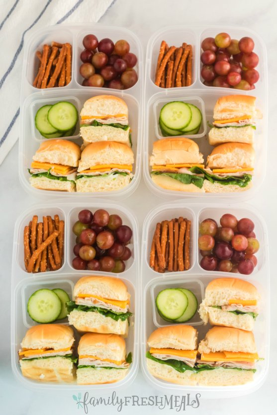 Mini Sliders Lunchbox Idea - School lunch from Family Fresh Meals