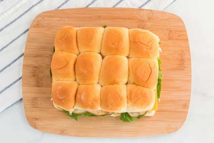 Mini Sliders Lunchbox Idea - Top of Hawaiian sheet roll placed on top of bread