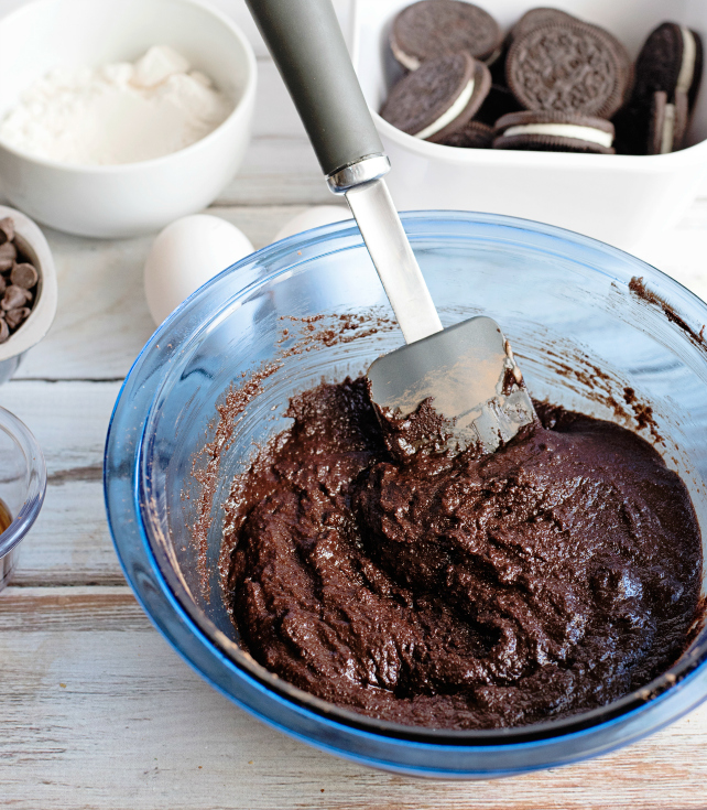 Oreo Stuffed Brownies - Brownie mixture in a glass bowl