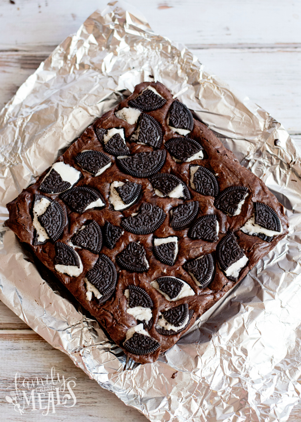 Oreo Stuffed Brownies - Cooked brownies on aluminum foil