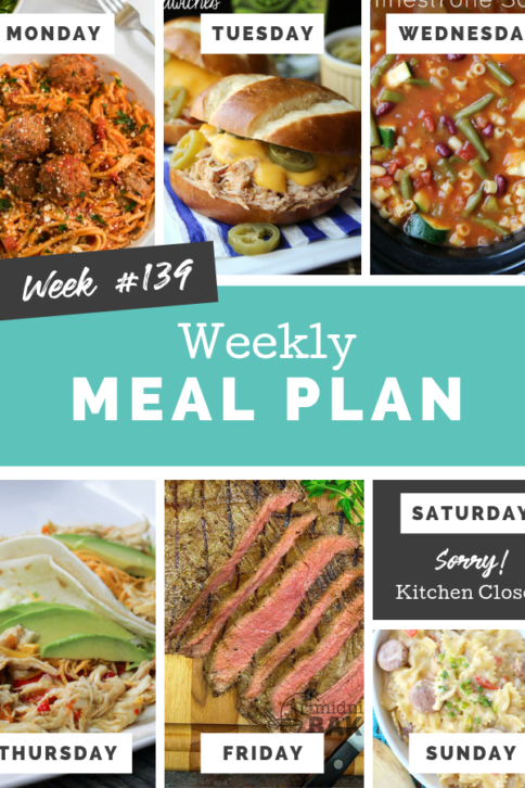 Easy Weekly Meal Plan Week 139
