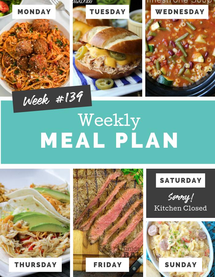 Easy Weekly Meal Plan Week 139