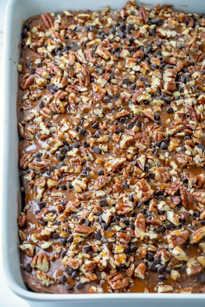 Chocolate Turtle Poke Cake Recipe - Family Fresh Meals