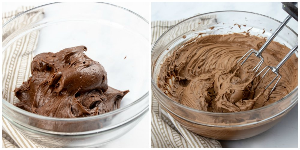 Chocolate Turtle Poke Cake - whipping canned frosting with hand mixer