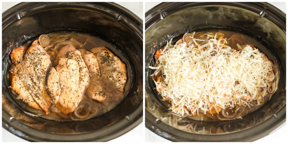 Crockpot French Onion Chicken - cooked chicken in slow cooker topped with shredded cheese