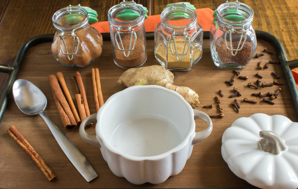 DIY Pumpkin Pie Spice Seasoning - Ingredients set out on a table