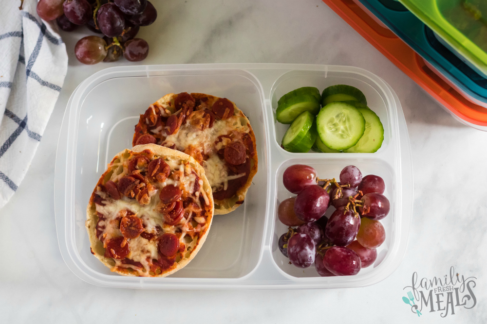 English Muffin Pizza Lunchbox Idea - Packed in Easy Lunchboxes