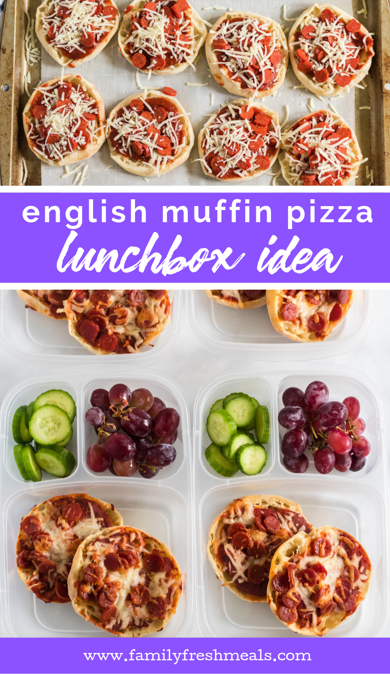 English Muffin Pizza Lunchbox Idea from Family Fresh Meals #lunchbox #easylunchboxes #lunchboxidea #schoollunch #minipizza #lunchidea #packlunch #familyfreshmeals via @familyfresh