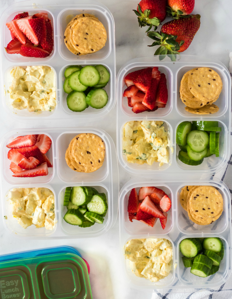 Healthy Egg Salad Lunchbox Idea - Packed in Easylunchboxes snack boxes