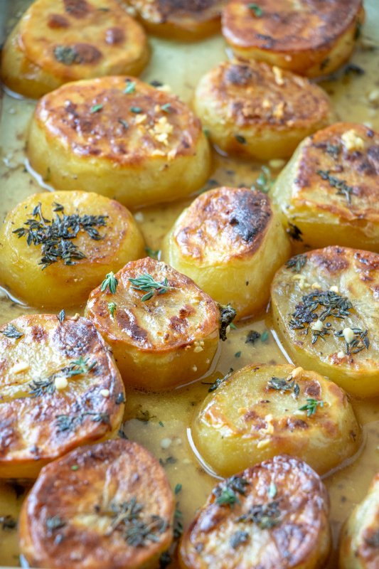 Melting Potatoes Recipe - both and butter poured over potatoes