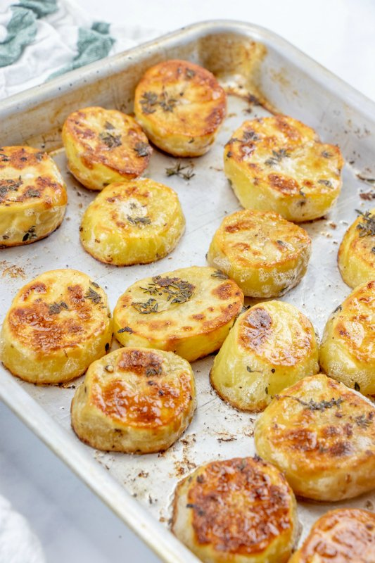 Melting Potatoes Recipe - potatoes cooked on baking sheet