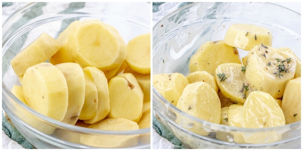 Melting Potatoes Recipe - sliced potatoes in a bowl, with butter and herbs mixed in