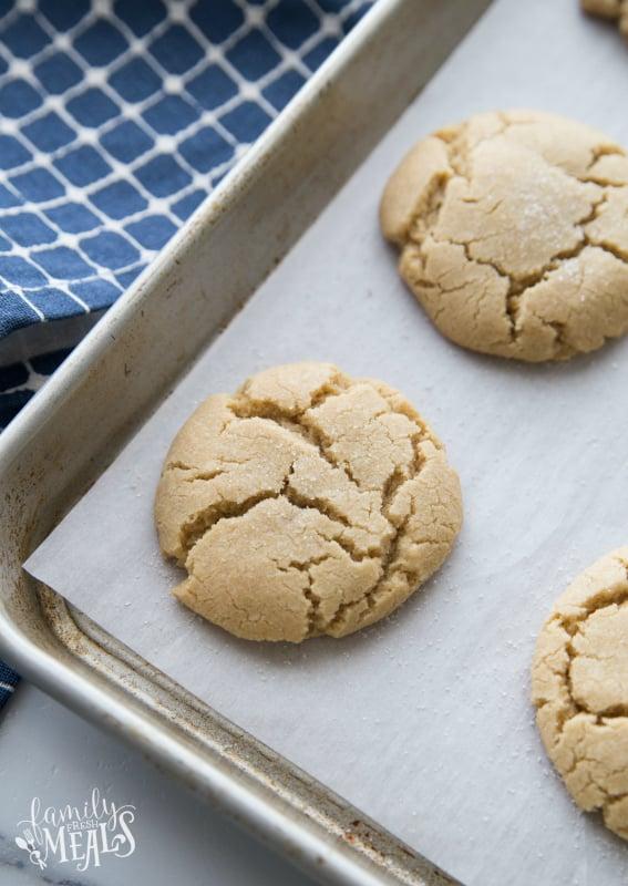 Soft Brown Sugar Cookies - Baked cookies on baking sheet