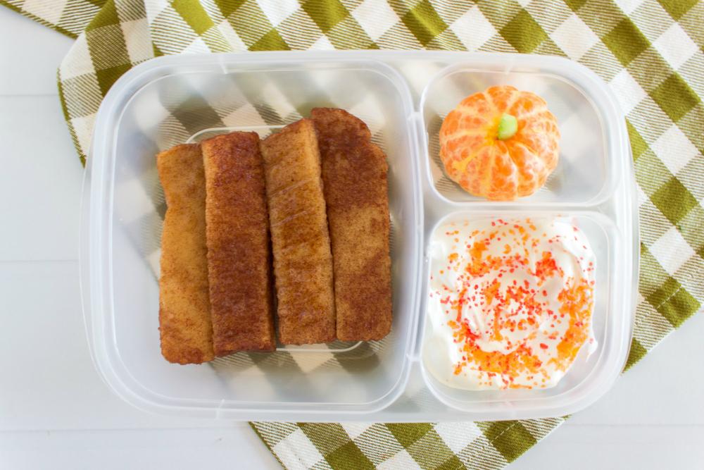 Cute Fall Lunchbox Ideas - French toast sticks, oranges and yogurt