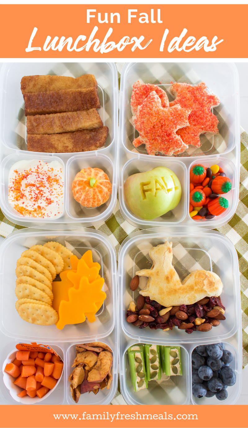 Cute Fall Lunchbox Ideas packed for lunch! #easylunchboxes #familyfreshmeals #fall #thanksgiving #funfood #lunchboxes #lunch #schoollunch  via @familyfresh