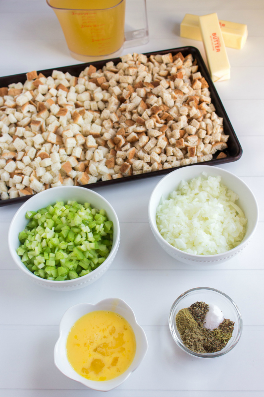 Easy Crockpot Stuffing - Ingredients on table