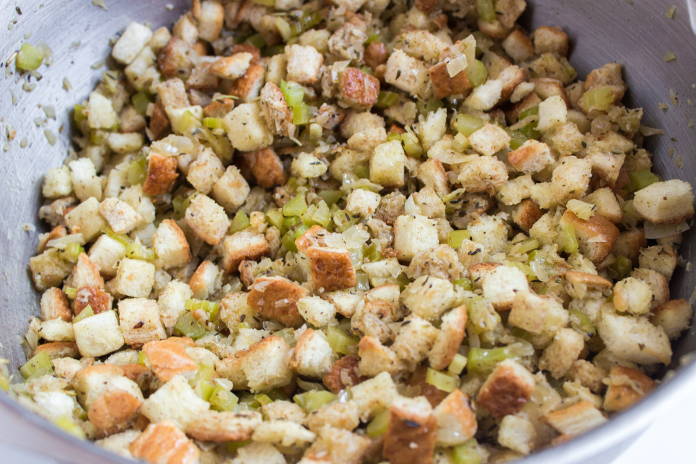 Easy Crockpot Stuffing - bread cubes mixed in the sauted vegetables