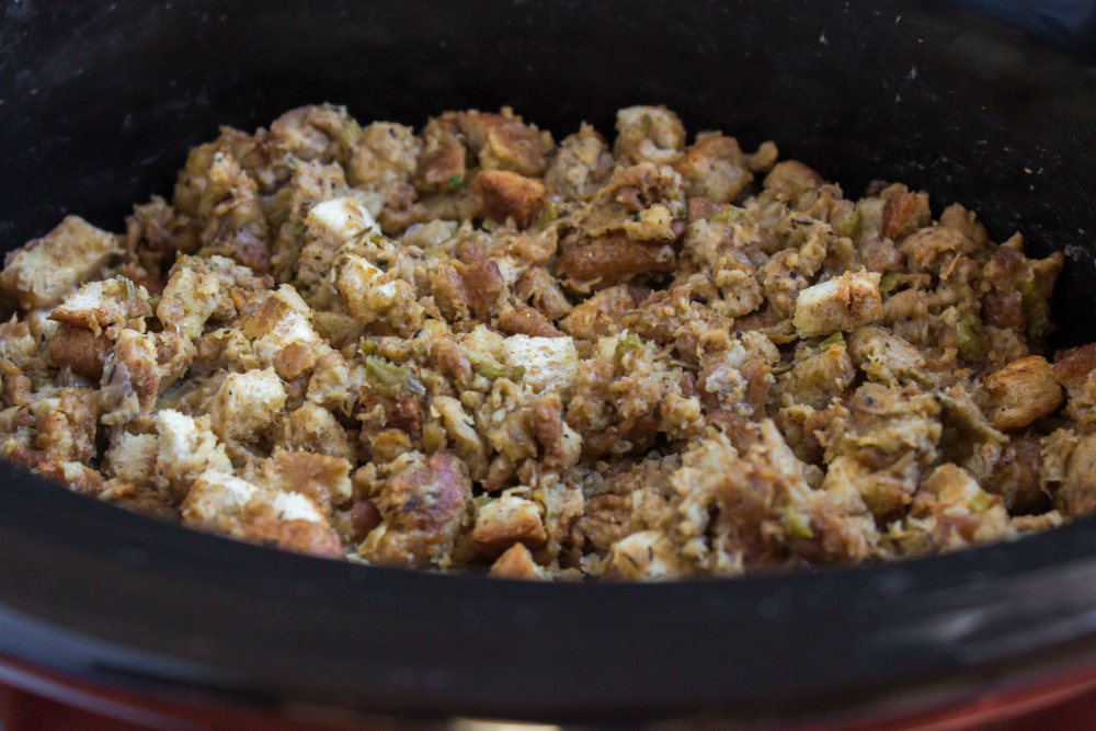 Easy Crockpot Stuffing - cooking in slow cooker