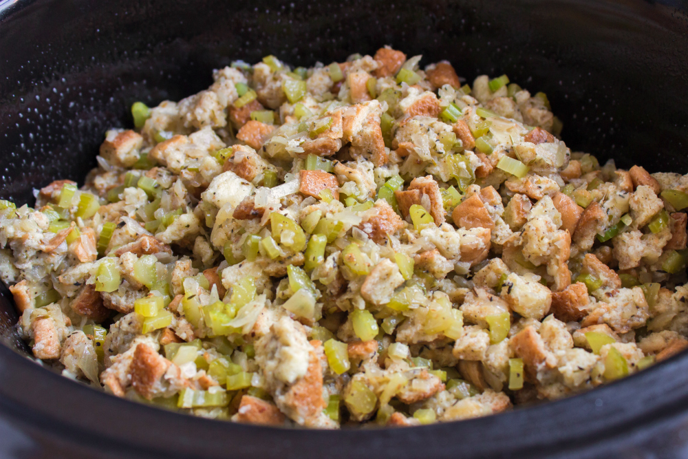 Easy Crockpot Stuffing - stuffing in slow cooker