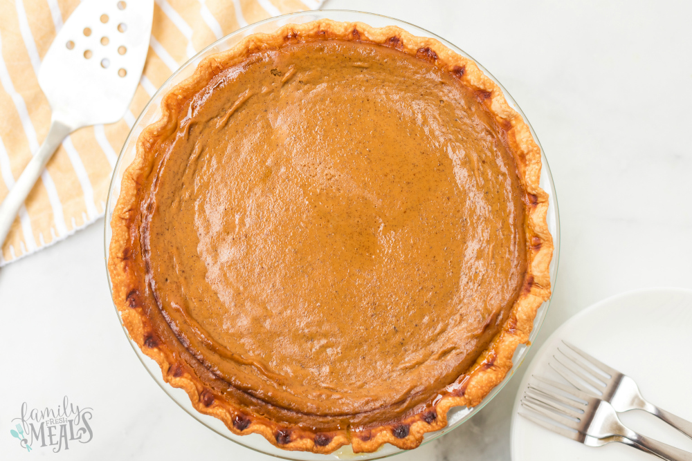 Easy Homemade Pumpkin Pie Recipe - baked pumpkin pie