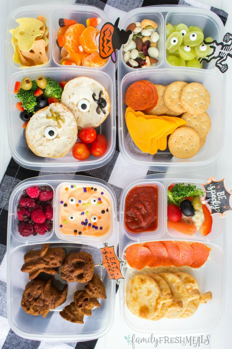 Four Fun Halloween Food Lunchbox Ideas, with steps on how to make each one! #familyfreshmeals #halloween #lunchbox #lunchboxes #halloweenlunchboxes #halloweenfood #funfood #schoollunch via @familyfresh