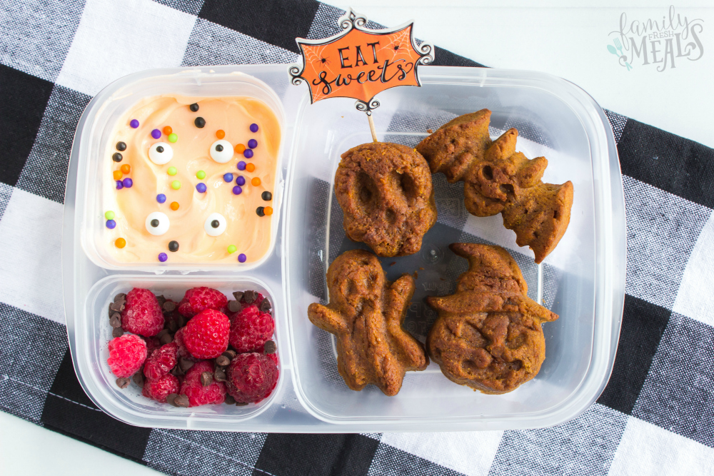 Fun Halloween Food Lunchbox Ideas - Pumpkin muffins, greek yougurt and raspberries packing in Easy Lunchboxes
