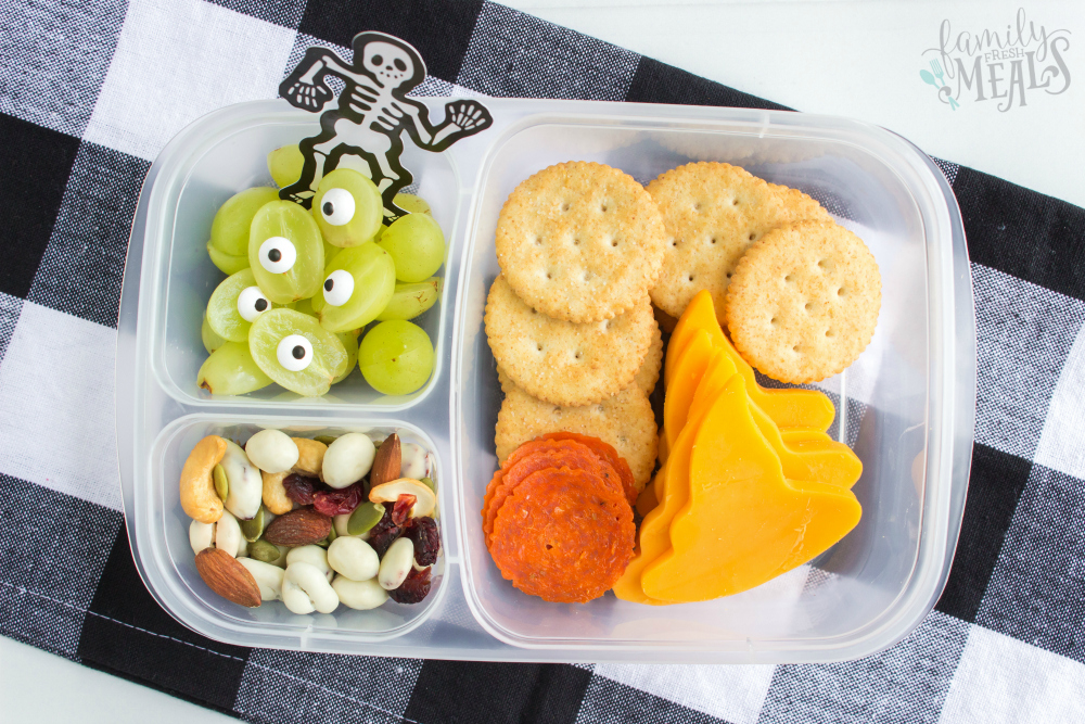 Fun Halloween Food Lunchbox Ideas - Witch hat diy lunchables packed in Easy Lunch Boxes