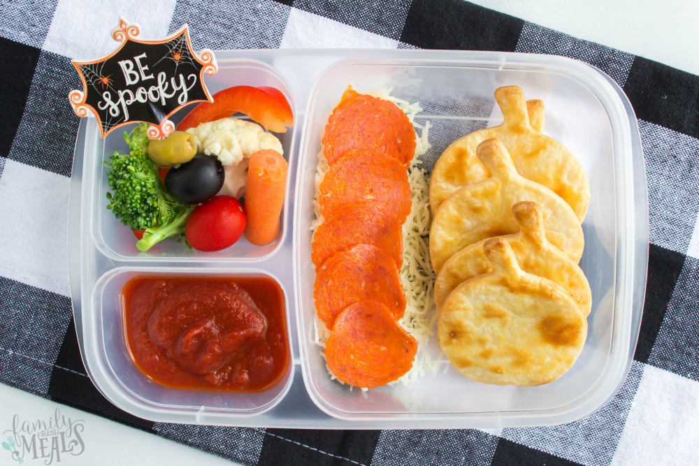 Fun Halloween Food Lunchbox Ideas - pizza lunchables - family fresh meals
