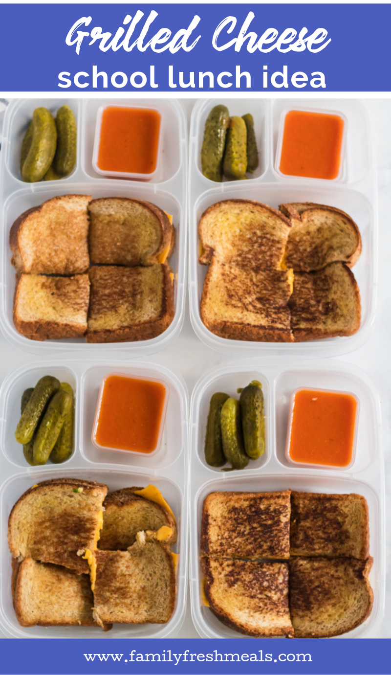 Grilled Cheese Packed for lunch in Easy Lunchboxes #lunchbox #lunchboxidea #easylunchboxes #grilledcheese #cheese #sandwich #schoollunch #worklunch #tomatosoup #familyfreshmeals via @familyfresh