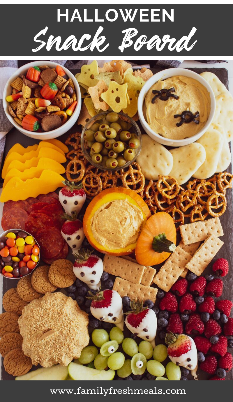 Halloween Appetizer Snack Board Ideas from Family Fresh Meals #cheeseboard #meatandcheese #appetizer #halloween #halloweenappetizer #snackboard #halloweenideas #funfood #familyfreashmeals via @familyfresh