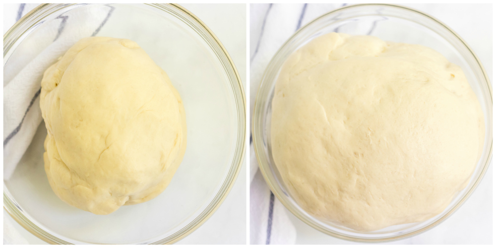 Homemade Dinner Rolls - dough rising in glass bowl