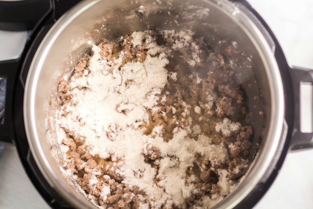 Instant Pot Sausage Gravy - flour added to browned beef
